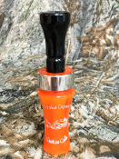 Solid orange with black insert, single reed